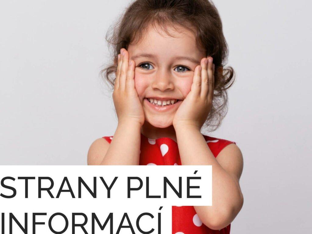 Natěšená holčička včervených šatech stextem strany plné informací